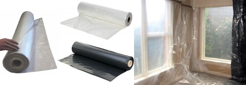 Centerfold Plastic Sheeting Rolls & Room Covered With Plastic